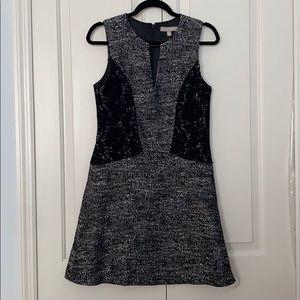 Banana Republic Black White Tweed Lace Dress 6
